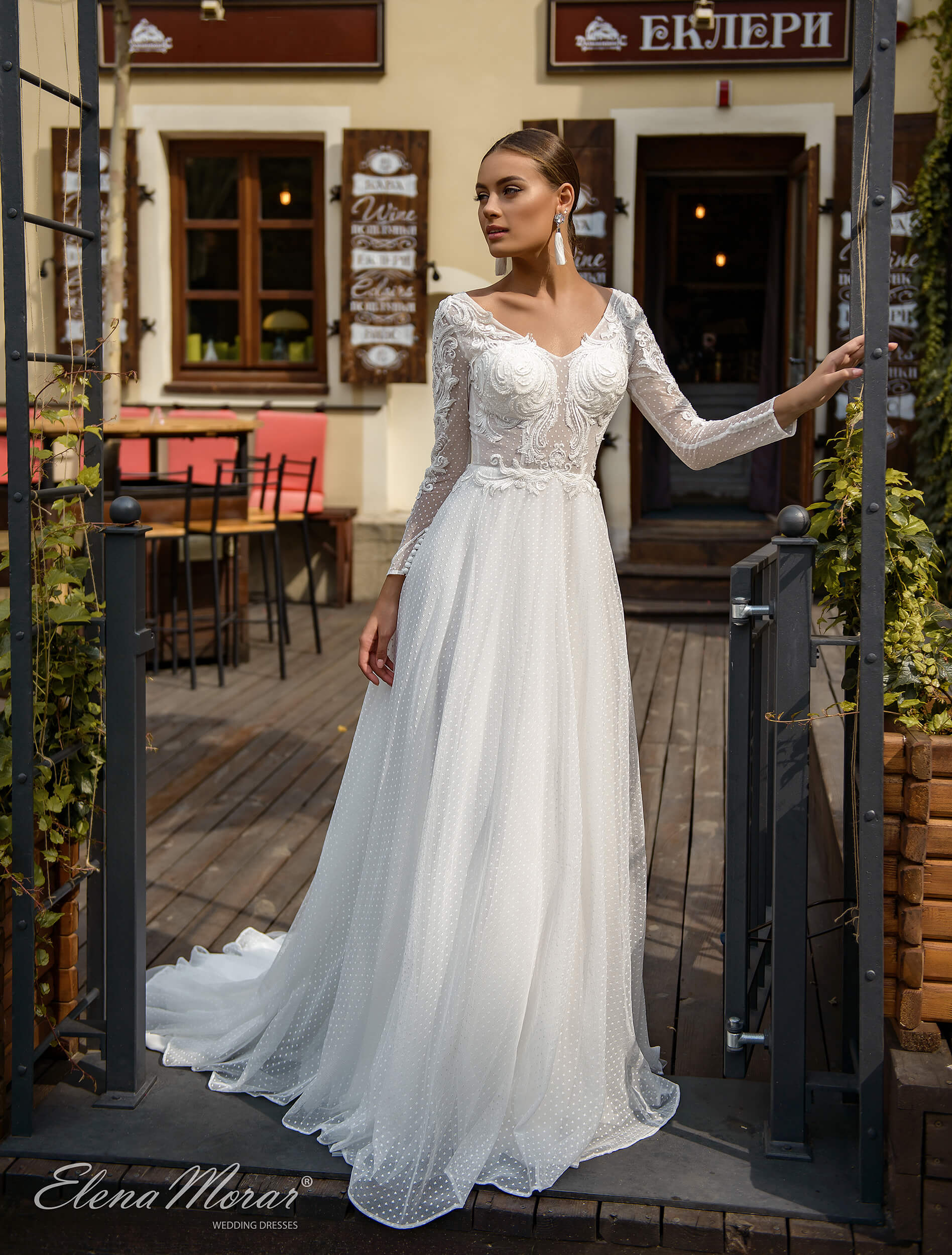 d6401a90cbcf67a прямые свадебные платья с длинным рукавом (1) | Vero