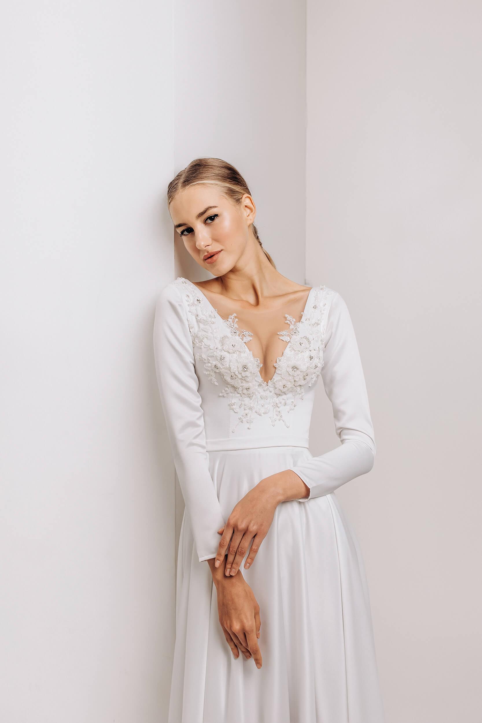 прямые свадебные платья с длинным рукавом | Vero