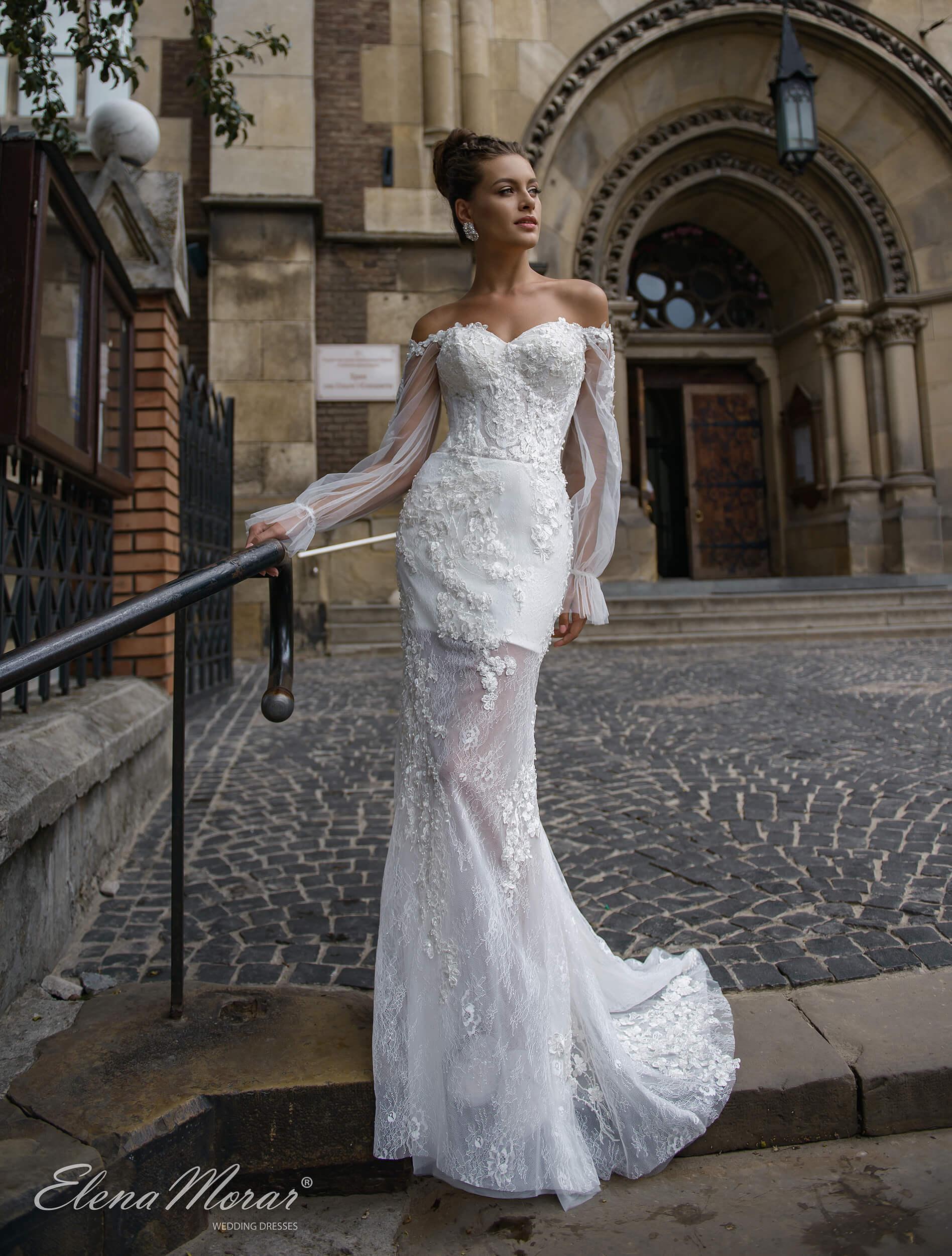 свадебное платье русалка с рукавами (1) | Vero